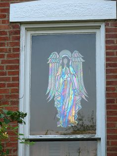 I am just amazed at how well the iridescent glass refracts light (and commands attention) from behind the window! Stained Glass Church, Stained Glass Quilt, Stained Glass Angel, Stained Glass Christmas, Stained Glass Suncatchers, Faux Stained Glass, Stained Glass Designs, Stained Glass Projects, Stained Glass Patterns