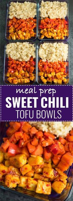Meal Prep Sweet Chili Tofu Bowls with brown rice and vegetables. A delicious vegan or vegetarian meal! Meal Prep Sweet Chili Tofu Bowls with brown rice and vegetables. A delicious vegan or vegetarian meal! Veggie Meal Prep, Vegetarian Meal Prep, Lunch Meal Prep, Meal Prep Bowls, Healthy Meal Prep, Vegetarian Recipes, Vegan Vegetarian, Veggie Meals, Eating Healthy