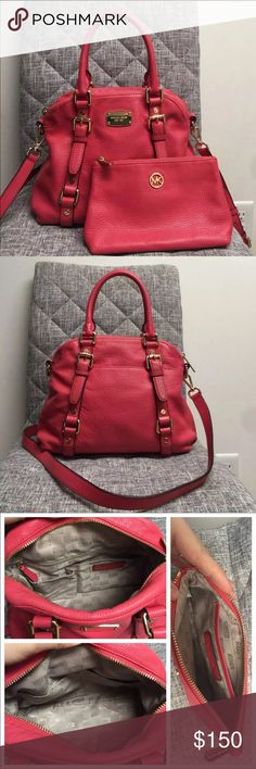 """Michael kors Bedford set  Like new only used for 3 days. Small scratch on MK logo on front plate of purse.   Watermelon color w/ gold hardware  Micheal kors MD Bedford bowling satchel leather handbag & cosmetics travel pouch  Has a long strap for shoulder carry Inside has 1 zip pocket, 4 open small pockets for keys/sunglasses/phone..small items outside has 1 slide in phone pocket with closure  Bag measurements - 12"""" x 10"""" x 5""""   Stored in a smoke free home! Michael Kors Bags Satchels"""
