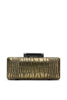 Tonda Croc Woven Clutch In Gold