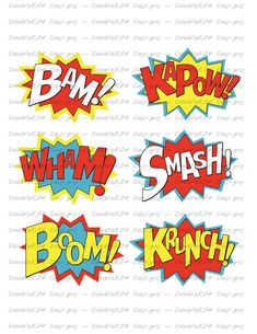 Superhero Sound Effects Expressions Bam KaPow Wham by Robin Superhero, Superhero Cookies, Pop Art Fashion, Superhero Birthday Party, Machine Embroidery Patterns, Sound Effects, Bead Art, Easy Drawings, Party Themes