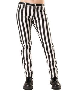 Punk-rock denim pants from the Black Pistol clothing collection by Aderlass, straight with bold white and black stripes. Clown Suit, Gothic Pants, Gothic Outfits, Denim Pants, Trousers, Punk Fashion, Mens Clothing Styles, Black Stripes, Cool Shirts