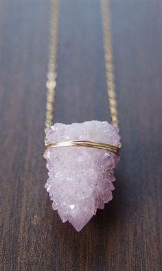 Lavender Spirit Quartz Druzy Necklace OOAK by #friedasophie - http://www.friedasophie.com
