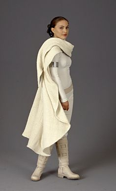 Padme amidala's white battle outfit from Star Wars episode 2 attack of the clones