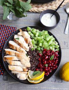 Bowl poulet quinoa concombre et grenade - Buddha bowl rezepte Diet Food List, Food Lists, Healthy Salad Recipes, Vegetarian Recipes, 21 Day Fix Vegetarian, Poke Bowl, Healthy Cooking, Food Inspiration, Breakfast