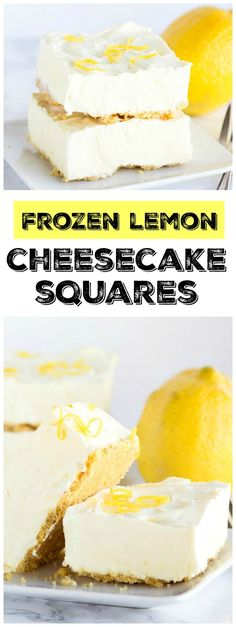 Lemon Cheesecake Squares Easy Frozen Lemon Cheesecake Squares : the perfect summer dessert recipe! : from Easy Frozen Lemon Cheesecake Squares : the perfect summer dessert recipe! Summer Dessert Recipes, Lemon Desserts, Lemon Recipes, Mini Desserts, Frozen Desserts, Easy Desserts, Delicious Desserts, Frozen Treats, Cheesecake Squares