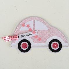 Fødselsdagskort - lyserød bil til 18 årig pige