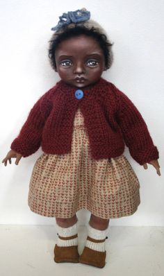 Little Acorn Child by cloth doll artist Susie McMahon