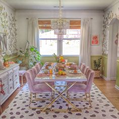 Designed by @preppybohemianathome Decor, Interior, Table Settings, Dining, Home Decor, White Rug, Valance Curtains, Dining Room, Area Rugs