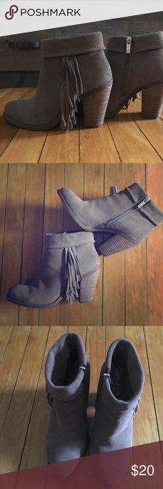 Jessica Simpson Fringe Boots 7.5 Jessica Simpson booties with cute fringe on the sides.  Sides have zipper enclosure.  I bought these off Posh and sadly they are too small for me. They are in great condition! Jessica Simpson Shoes Ankle Boots & Booties