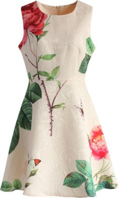 Chicwish Fond of Roses Jacquard Dress in Nude