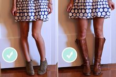 When To Wear Ankle vs. girls need to read this ****For photoshoots some dresses/outfits do not look cute with those taupe ankle boots that are always paired with everything*** Fall Outfits, Cute Outfits, A Line Mini Skirt, Mini Skirts, How To Roll Sleeves, Dress With Boots, Fashion Advice, Style Guides, Passion For Fashion