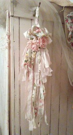 shabby chic tassel, vintage fabric, joanne coletti, pink sheets, barkcloth, roses