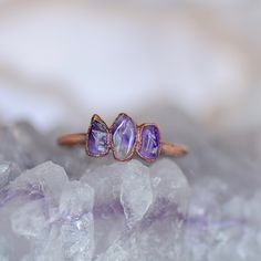 Amethyst Jewelry, Amethyst Stone, Amethyst Birthstone, Raw Stone Jewelry, Stone Rings, Boho Rings, Sterling Silver Rings, Gifts For Her, Diy Jewellery