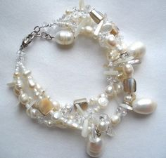Freshwater Pearls and Shell Bracelet by bluewhitewear on Etsy,