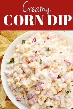 This Creamy Corn Dip is a great quick and easy appetizer idea for any party or get-together. This cold dip is made with sweet corn and red bell pepper with cheddar and creamy dressing. Quick Soup Recipes, Chowder Recipes, Lunch Recipes, Cooking Recipes, Healthy Recipes, Dip Recipes, Delicious Recipes, Healthy Food, Recipies
