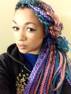 Multi-colored box braids front view