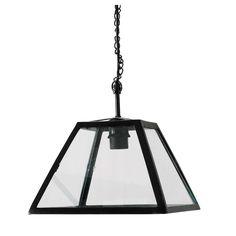 USINE glass and metal pendant lamp in black D 28cm