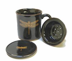 Dragonfly Mug with Lid & Infusion Strainer 10 oz