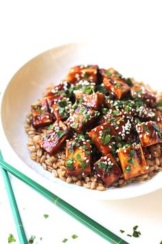 Hoisin Tofu-It's true what they say, we eat with our eyes first, that's why I knew I had to give this recipe a try when I saw it on Gimme Some Oven. | thewholeserving.com
