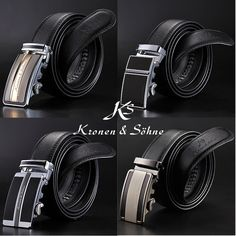 KS Authentic Black Mens Genuine Leather Auto Lock Belt Fit 20-49 inch Adjustable