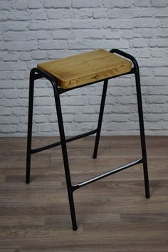 industrial vintage style stacking school lab cafe bar stools with rustic pine tops inc vat