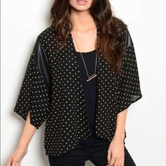 Kimono This listing is for size small! We also have medium and large available! Comment if you want a different size listing created! 100% polyester great polka dot print! Tops