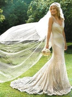John Galliano gown and wedding veil