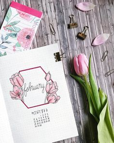 """853 Likes, 51 Comments - Thuy (@thuys.bujo) on Instagram: """"My monthly overview of February. This time I tried a vertical layout and a bunch of flowers I…"""""""