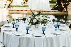 Blue glassware with airplant/dahlia centerpiece. Brunch Wedding, Wedding Table, Blue Wedding, Wedding Decor, Wedding Flowers, Dream Wedding, Wedding Ideas, Dahlia Centerpiece, Beyond Blue