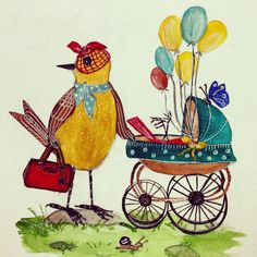 Motherhood #art #illustration #birdart #bird #pram #shimonastudio #instagram #fashion #MK #balloons #birds #scarf #etsy #instagram