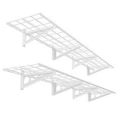 FLEXIMOUNTS 2Pack 1x6ft 12inchby72inch Wall Shelf Garage Storage Rack Floating Shelves White