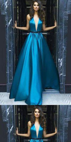 A-line V-Neck Halter Sweep Train Blue Sleeveless Satin Backless Prom Dress, Evening Dress,PDY0356#prom dress#