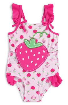 Sol Swim Strawberry Print One-Piece Swimsuit (Toddler Girls)