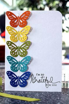 I love to make cards for birthdays, Christmas, to say thank you...   Butterfly hole punches are nice, but you could get a bit more creative making your own various butterflies.   Anyhow, I'm repinning this because it inspired me toward my own card making :-)