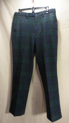 Polo Chino Ralph Lauren Men's Golf Pants 100% Wool Tartan Plaid Flat Front-33x30