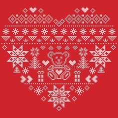 Скачать - Heart Shape Scandinavian Printed Textile  style and inspired by  Norwegian Christmas and festive winter seamless pattern in cross stitch with Christmas tree, snowflakes, bear , hearts on red background — стоковая иллюстрация #121686350