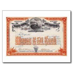 Wilkes Barre & Eastern Railroad Stock Vintage Postcard