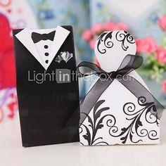 """Cherish"" Bride & Groom Style Favor Box (Set of 12)"