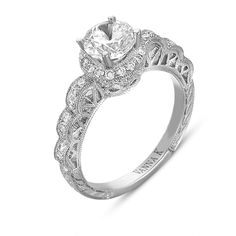 Vanna K 18RGL00367DCZ Vintage-looking Diamond Halo Engagement Mounting