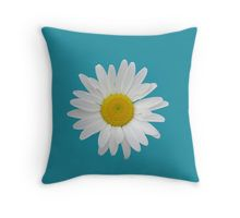 Daisy on turquoise blue background Throw Pillow