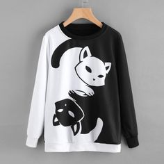 $11.29 - Womens Cat Printing Long Sleeve Sweatshirt Pullover Tops Blouse #ebay #Fashion
