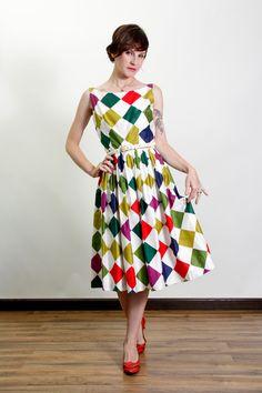 HARLEQUIN Diamond Print Dress by VeraVague