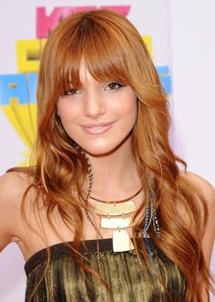 20 Gorgeous Long Hairstyles with Bangs: Bella Thorne's Blunt Bangs