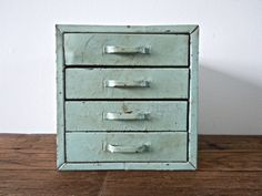 rare mint green industrial metal box with drawers