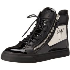 Giuseppe Zanotti Women's Mirrored High-Top Fashion Sneaker ($995) ❤ liked on Polyvore featuring shoes, sneakers, metallic shoes, studded shoes, metallic sneakers, giuseppe zanotti shoes and giuseppe zanotti high tops