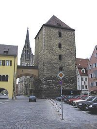 Regensburg, Germany, city tower and gate