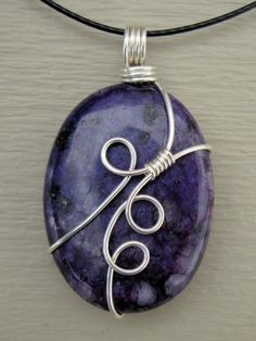 Oval Purple Sugilite Wire Wrap Necklace Pendant