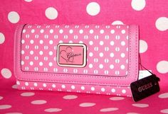 New ♥ Guess ♥ Pink White Dot Love Heart Elara Slim Clutch Purse Wallet Bag NWT | eBay Clutch Purse, Purse Wallet, Love Heart, Hand Bags, Continental Wallet, Pink White, Purses And Bags, Wave, Shades