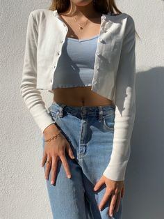 Details & Care A closet staple basic ribbed cardigan in a cropped silhouette. Indie Outfits, Girly Outfits, Cute Casual Outfits, Fashion Outfits, Blue Skirt Outfits, Flannel Outfits, Cardigan Outfits, Basic Outfits, Sporty Outfits
